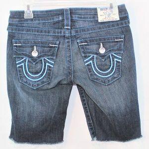 True Religion Knee length raw hem shorts